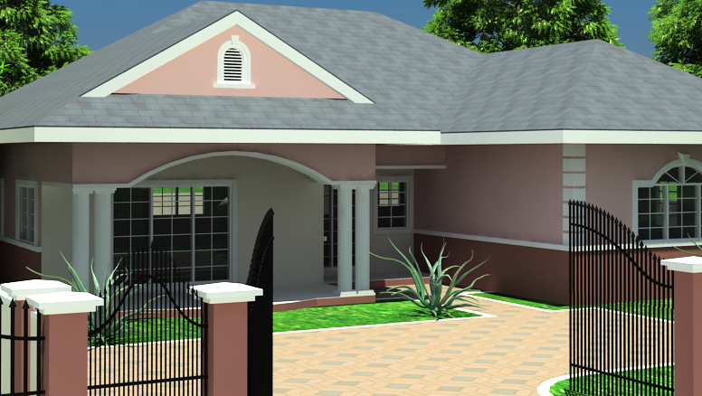 Abbey Ghana House Plan: Three Bedroom And One And Half Bath