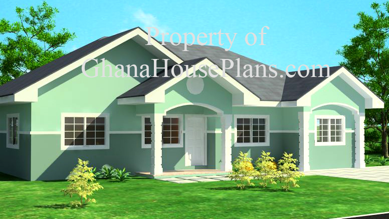 3 Bedroom Semi Detached Ghana House Plan Living Dining Rooms With