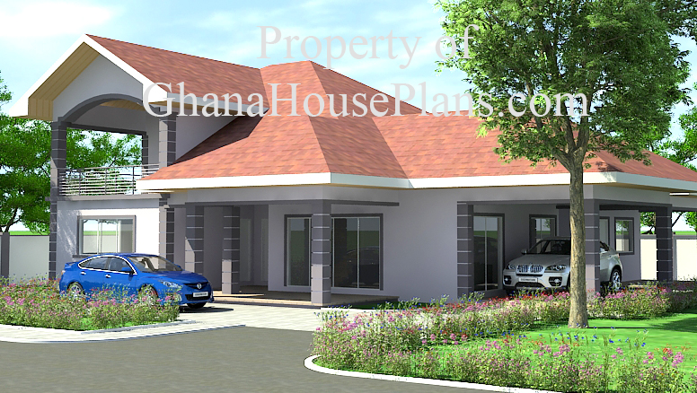 4 Bedroom Two Storey Ghana House Plan Big Living Dining Kitchen