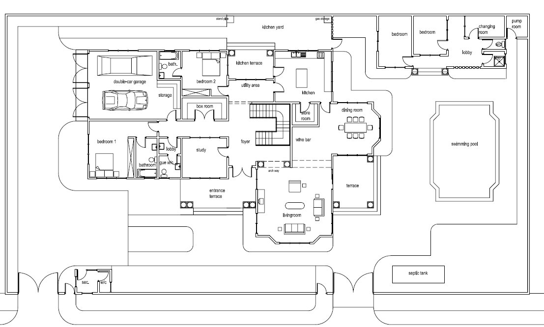 Ghana house plans mantse house plan House layout plan