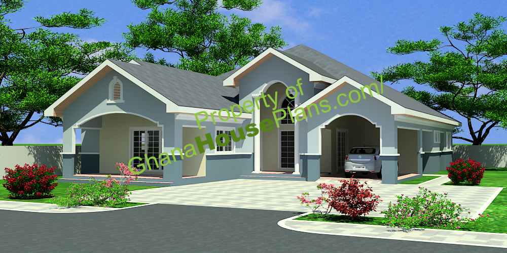 Ghana house plans maame house plan for Four room house design