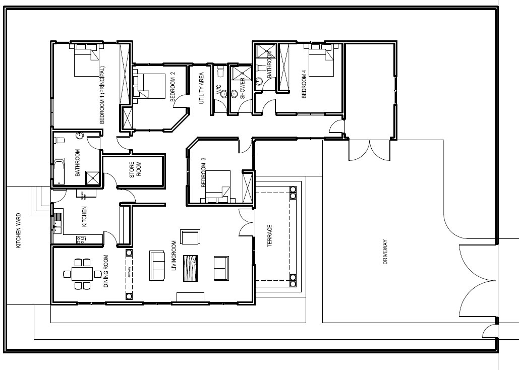 Ghana house plans abeeku house plan for House layout plan