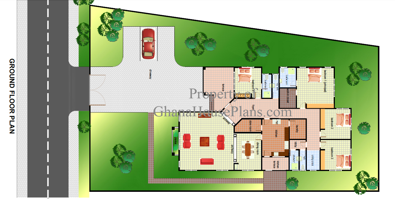 Ghana House Plans Cece House Plan