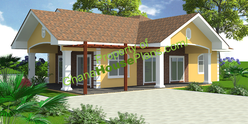 Ghana house plans larbi house plan for Three bedroom home designs