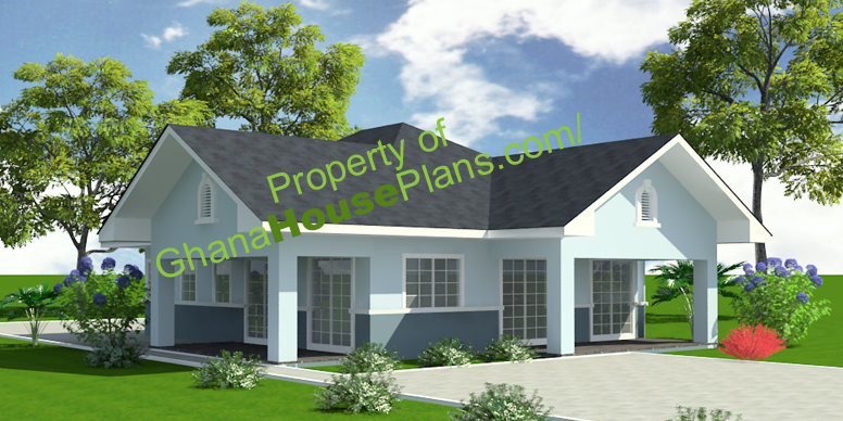 Ghana House Plans Lartey 2 Bedroom House In Ghana Small