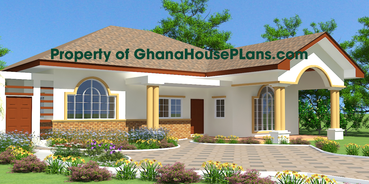 Ghana house plan three bedroom two half bath dinning ask for Single family house plans