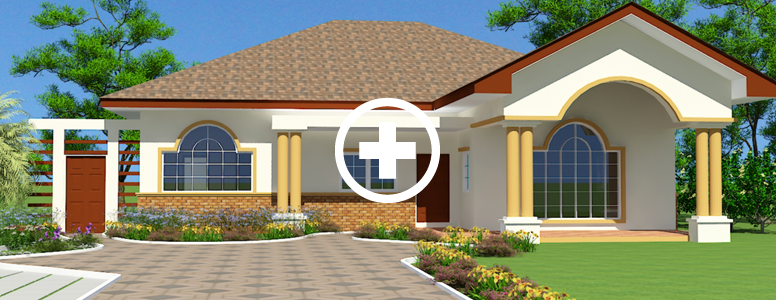 Ghana house plans nii ayitey house for Modern 3 bedroom house plans and designs