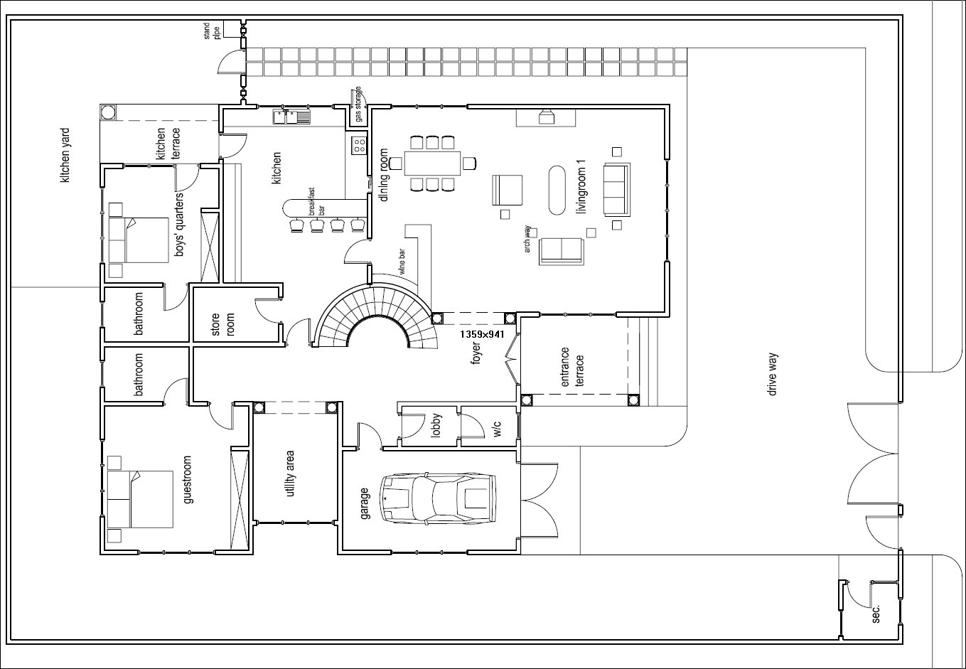Ghana house plans odikro house plan groundfloor for Residence design plan