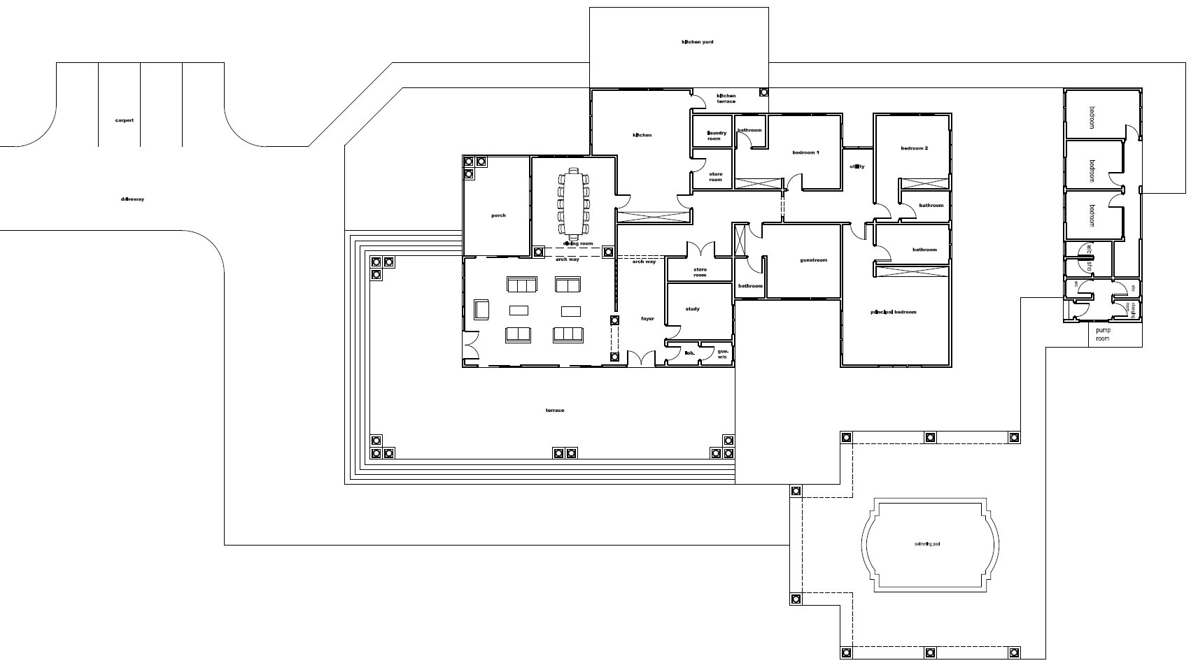 Ghana house plans daavi house plan for Lay out house floor plans