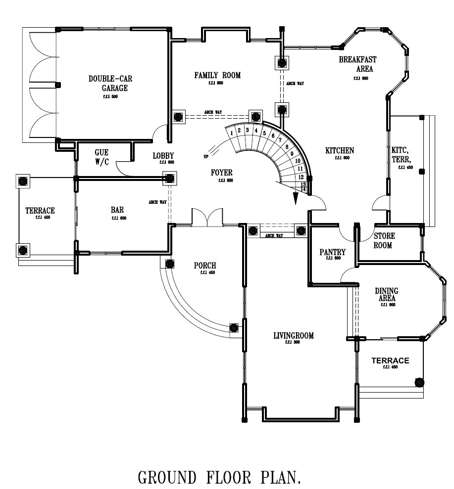 Ghana House Plans – ghana home designs-Ground-Floor