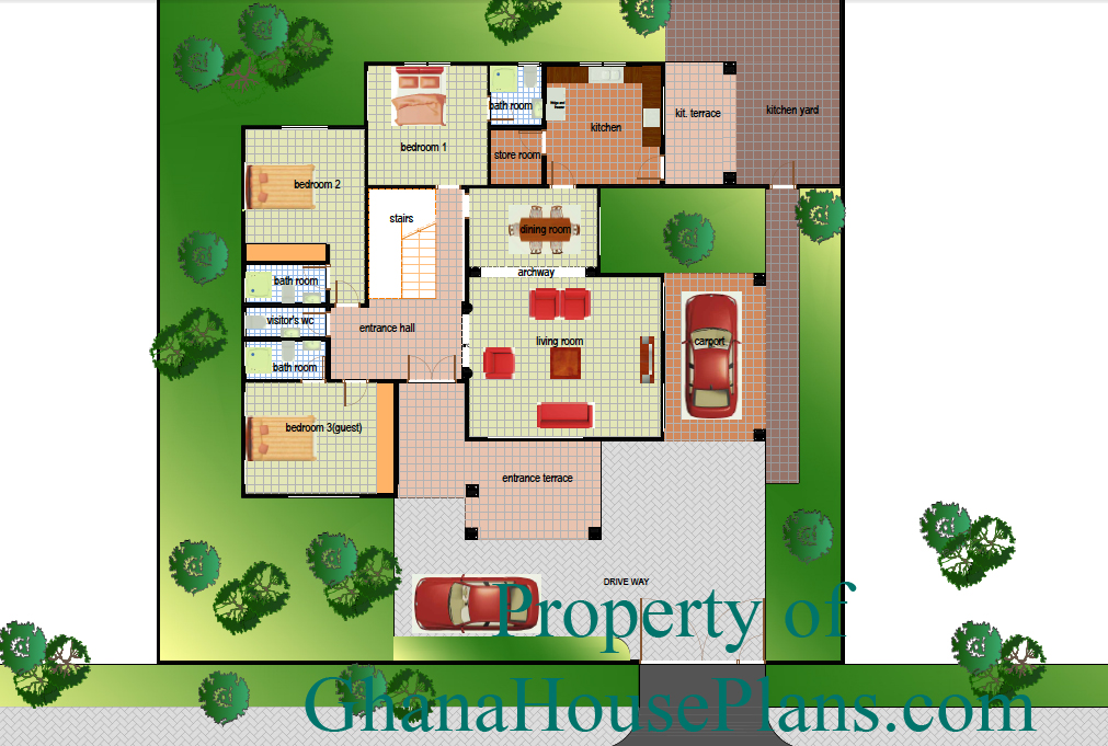 Ghana House Plans – ghana house plan Ground Floor