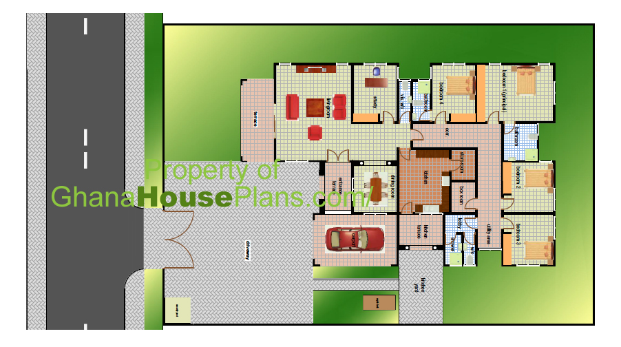 4 bedroom ghana house plan for 5 bedroom house plans in ghana