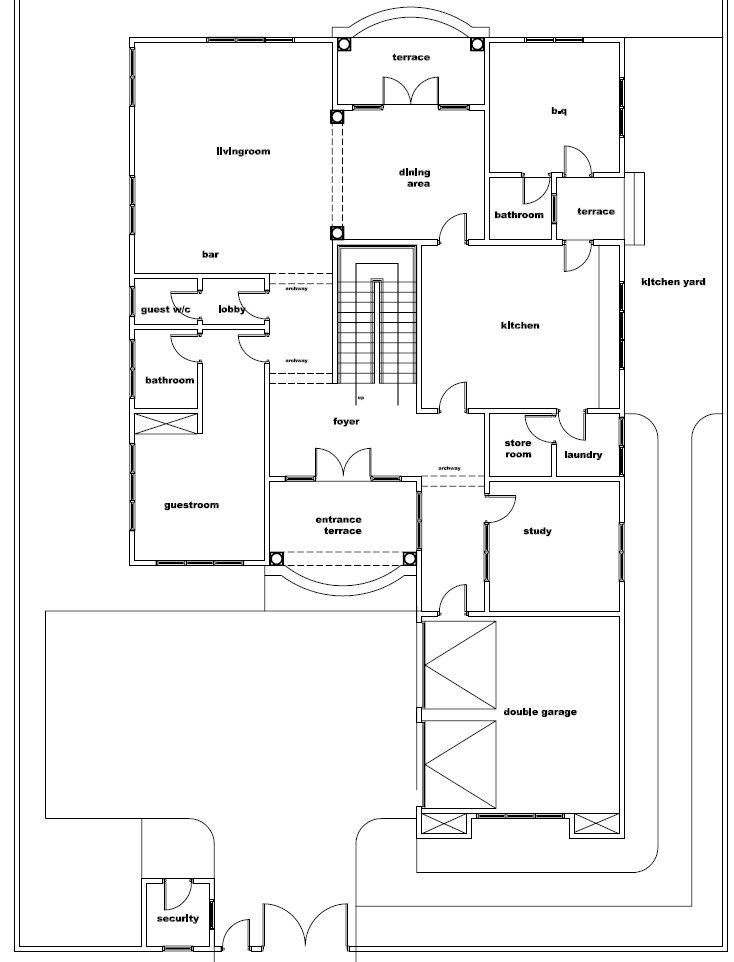 Ghana House Plans – ghana nigerial naa house plan Ground Floor