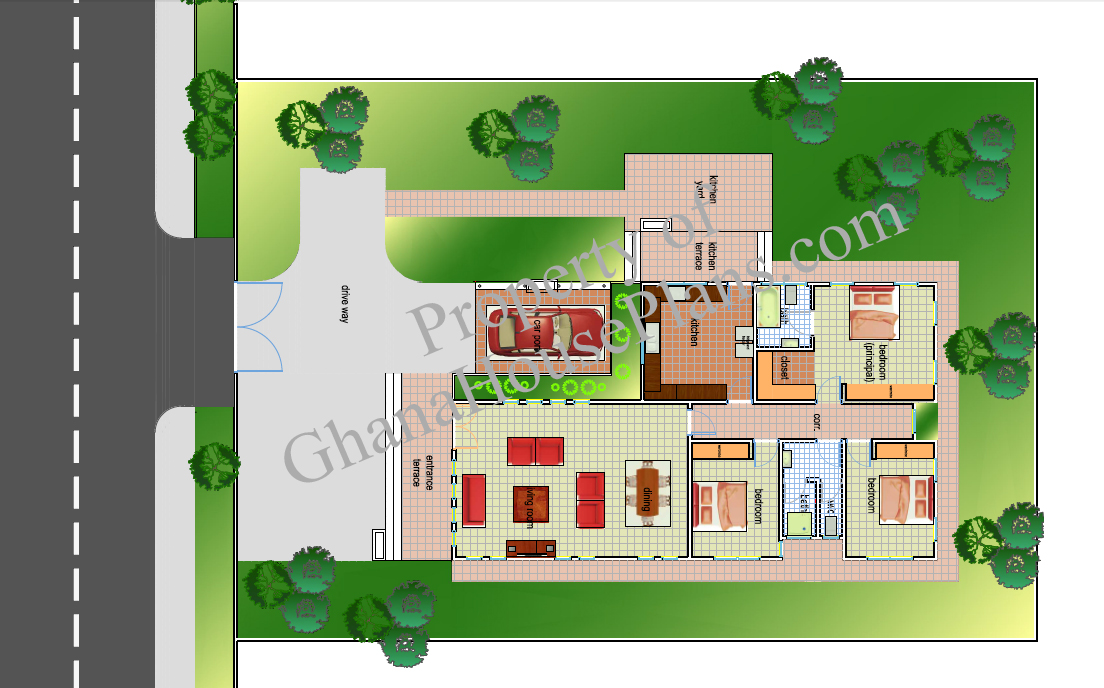 4 Bedroom 2 Baths House Plans 2000 Sqft on krakye house ghana plan