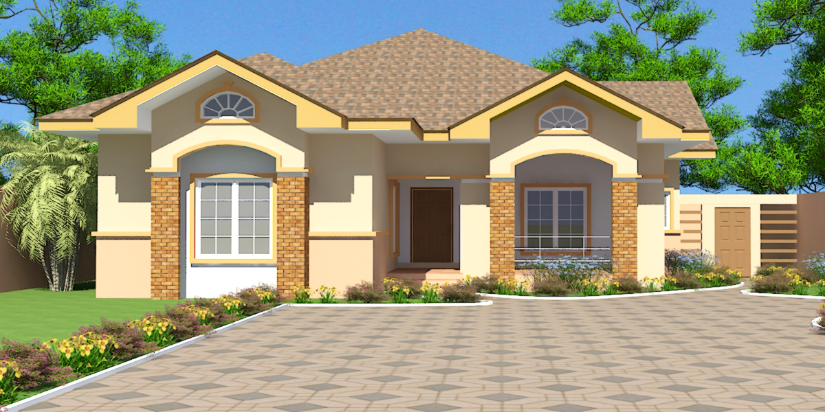 Ghana house plans nii ayitey house plan for Three bedroom home designs