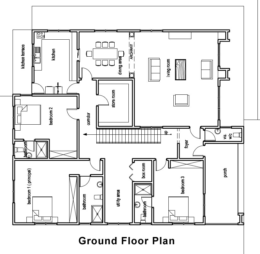 Ghana house plans padi house plan for House designs and floor plans