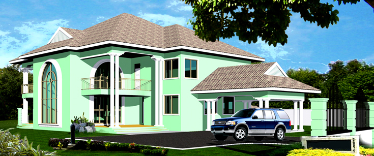 Ghana house plans manhyia house plan for Home designs ghana