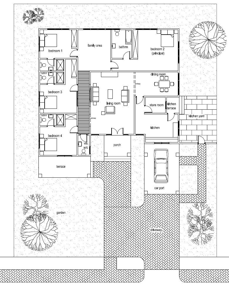 Ghana House Plans Ohene House Plan