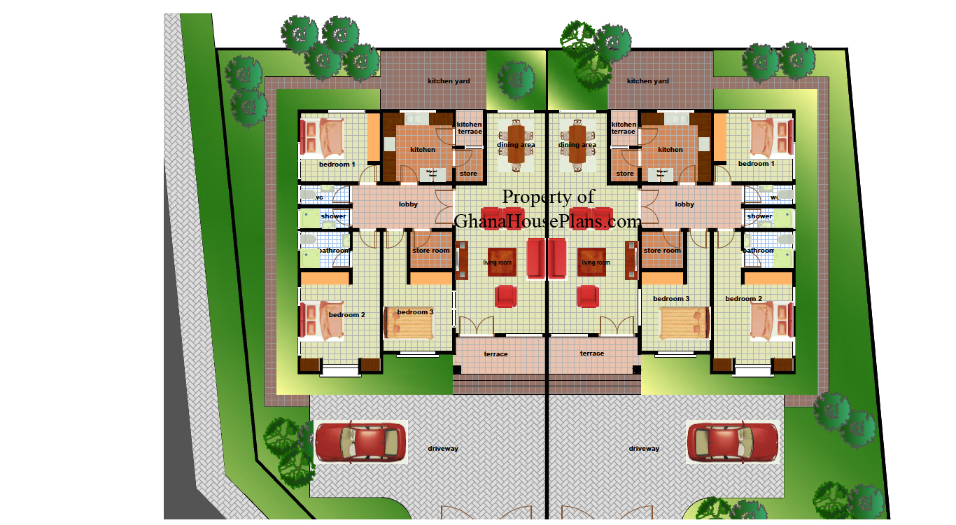 Ghana house plans ohenewaa house plan for House layout plan