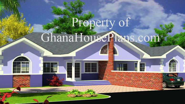 Ghana house plans ohenewaa house plan for Three bedroom house plan in ghana