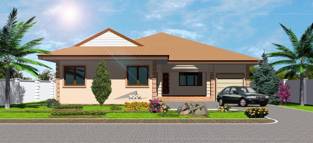 Ghana house plans okyeame house plan for Three bedroom house plan in ghana