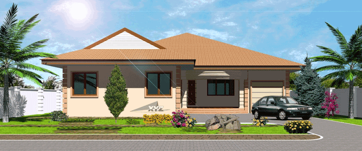 Ghana house plans okyeame house plan for Home designs ghana