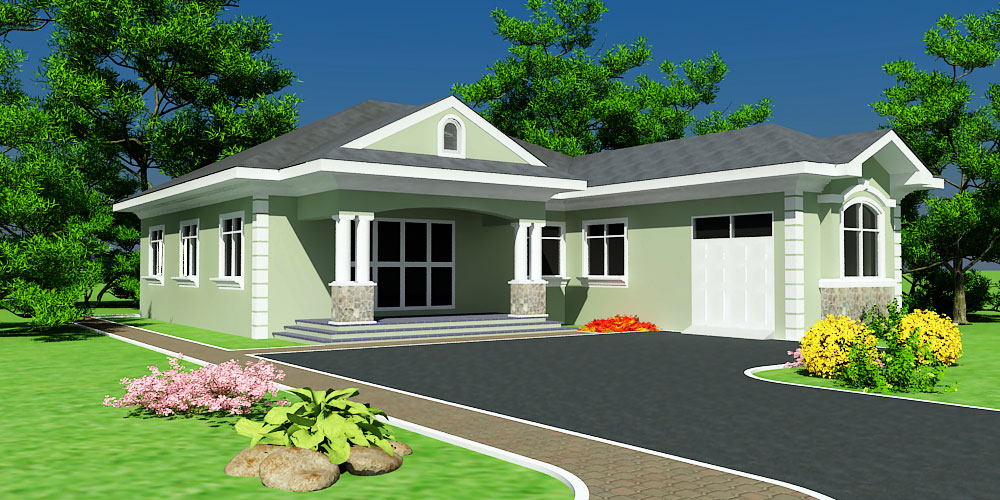 Abeeku House Plan on Custom One Story Homes Plans