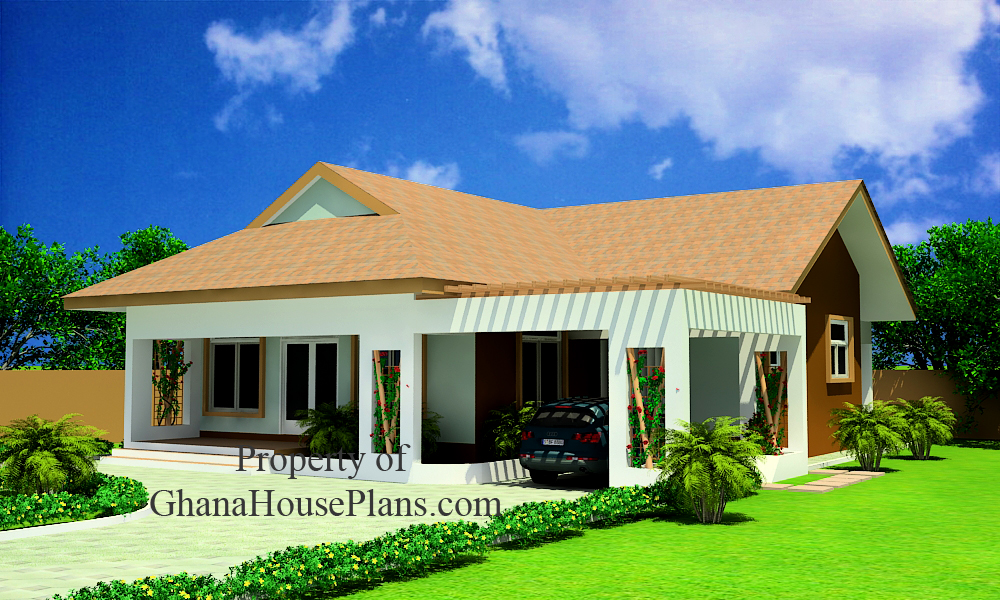Two bedrooms house plan for ghana nigeria liberia all for Single story multi family house plans