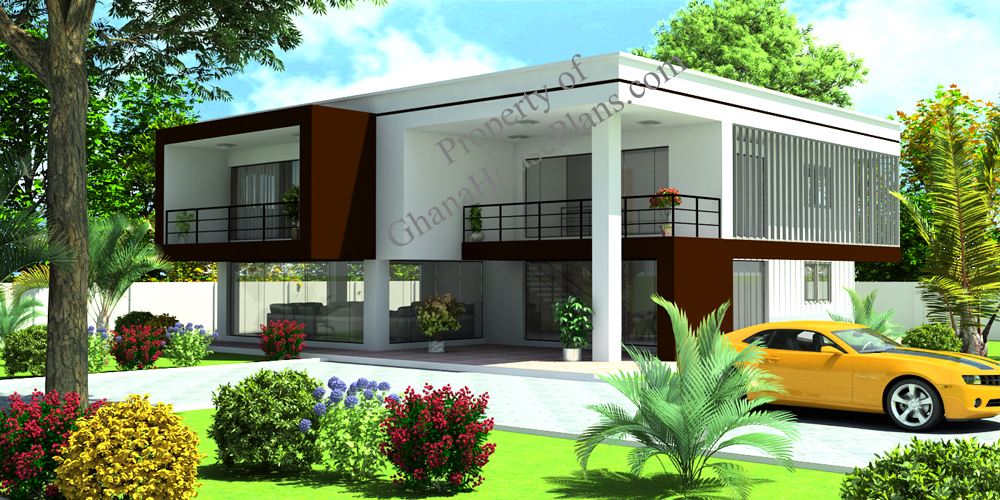 Contemporary home plan for cameroon all africa countries for Two storey house plans with 4 bedrooms
