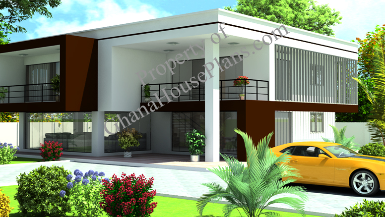 Contemporary home plan for cameroon all africa countries for Home design 4 bedroom