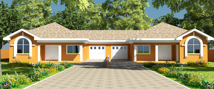 Modern house floor plans for ghana uganda cameroon more for Three bedroom house plan in ghana