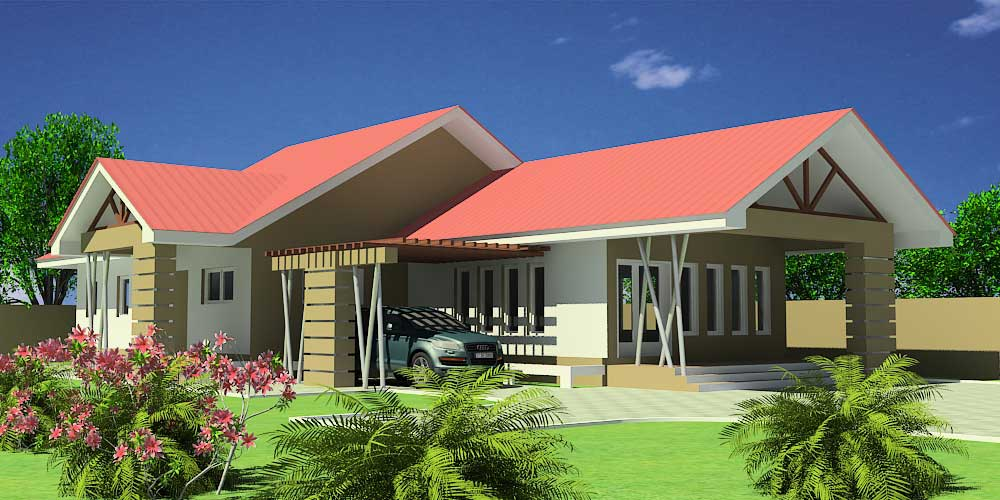 House architecture designs for senegal and sierra leone for Three bedroom house plan in ghana