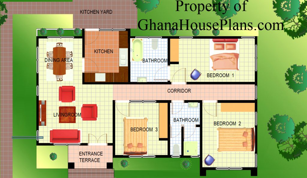 4 bedrooms plan for ghana all tropical climate countries for Three bedroom house plan in ghana