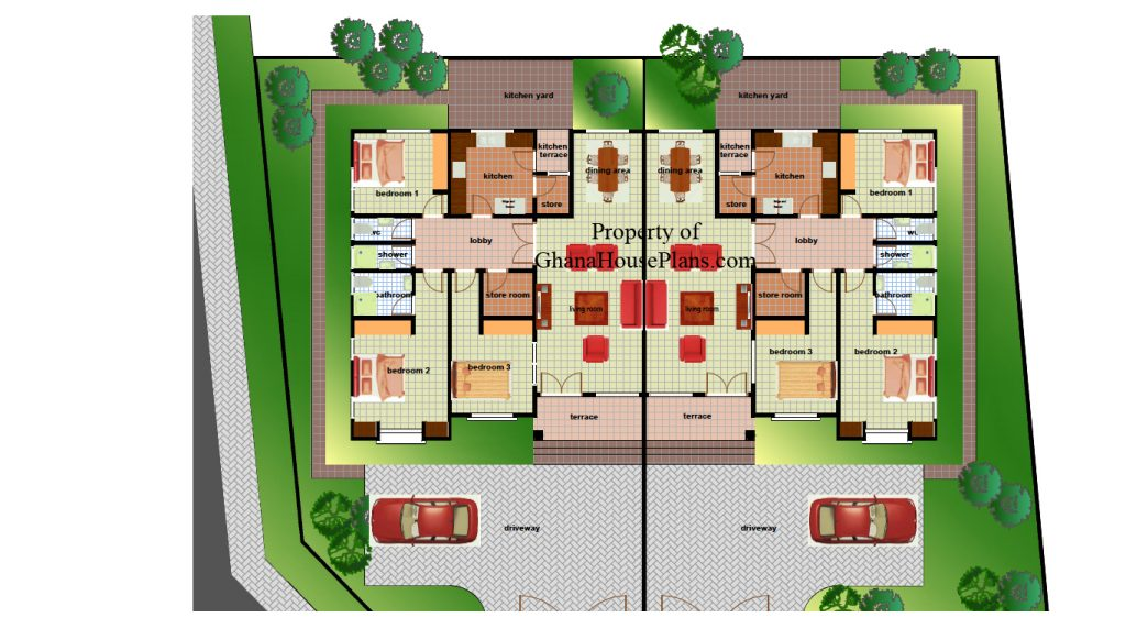 4 bedroom house plan for a growing family in ghana for Modern house plans in ghana